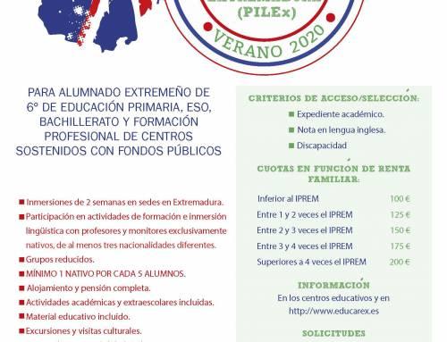 CONVOCATORIA INMERSIONES LINGÜÍSTICAS (INGLÉS) VERANO 2020 6º PRIMARIA, ESO, BACHILLERATO Y FP