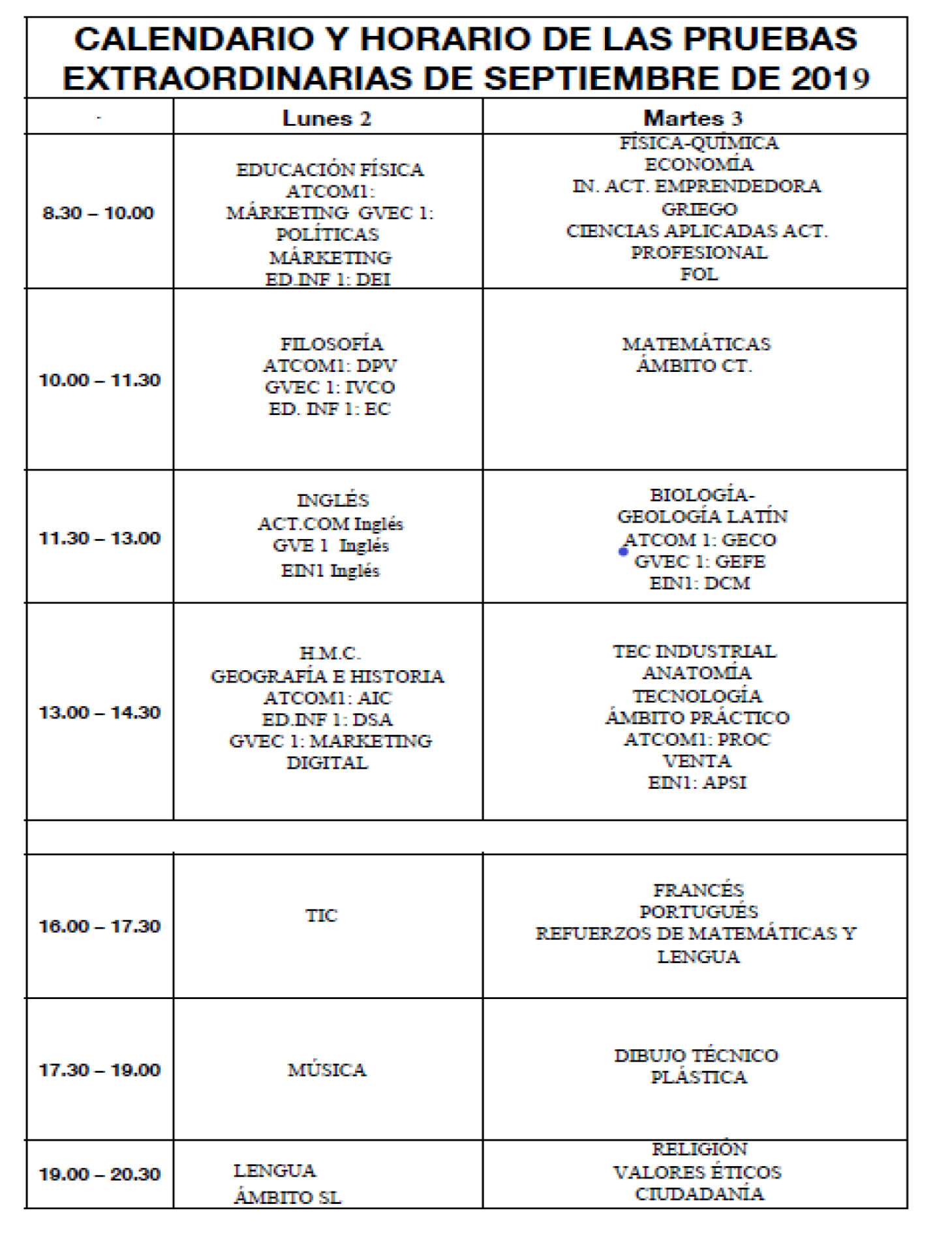 Calendario De Agosto Y Septiembre 2019.Calendario Examenes Septiembre 2019 I E S Pedro De Valdivia