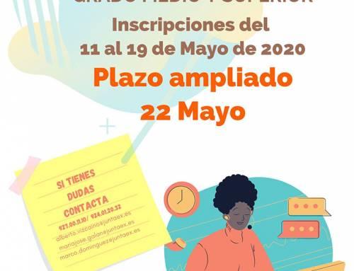 PRUEBAS DE ACCESO A CICLOS FORMATIVOS: AMPLIACIÓN DEL PLAZO DE SOLICITUD